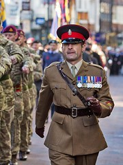 Remembrance Sunday, Canterbury, 13 Nov 2016 (chrisjohnbeckett) Tags: remembrancesunday canterbury street march parade medals war peace remembering army officer walking marching red canonef135mmf2lusm chrisbeckett portrait soldier uniform global photojournalism