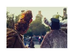 City Halloween (James Eleftherion) Tags: leica m3 jupiter3 kodak homedeveloped epson v600 e100sw arista e6 slidefilm nyc ektachrome analog manhattan shootfilm film filmisnotdead halloween masks sunset autumn kubrick washingtonsquarepark streetphotography