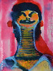 XS : femme girafe  - 2016_325 (annegrandin) Tags: xs 2016 painting small dessin illustration miniature french france art contemporain moderne modern femme girafe cou long woman smile rire sourire neck laugh couleur rouge bleu noir color