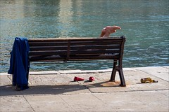 PA136788 Sicily Italy Cefalu (Dave Curtis) Tags: 2013 cefalu em5 europe italy omd olympus sicily red shoes feet bottle seat chair