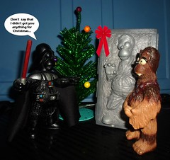 ONE SIXTH SCALE THEATRE presents THE SIMPSONS : CHEWIE'S XMAS GIFT FROM DARTH VADER (DarkJediKnight) Tags: christmas 2016 darth vader chewie chewbacca wookiee han solo carbonite gift humor parody spoof fake simpson simpsons homer
