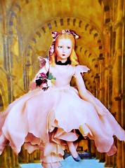 She Was Perfect But She Was Unreal: On Women and Aging (joannmuench) Tags: pink flowers church collage female vintage doll child cathedral antique surrealism dream surreal retro indoors fantasy collageart blonde expressionism inside surrealistic cutandpaste expressionistic frozenintime longdress dolllike archedroof porcelindoll desertloca joannmuench perfectbutunreal womentryingtolookforeveryoung