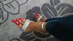 Heel nails (longtoenailz4eva) Tags: red long toenails