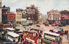 piccadilly circus 1920s (smallritual) Tags: 1920s london postcard piccadillycircus omnibus