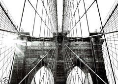 Stone and Steel (skippys1229) Tags: nyc newyorkcity blackandwhite bw newyork stone architecture brooklyn canon buildings outdoors bronx manhattan steel bricks sunny icon queens cables lensflare brooklynbridge eastriver highkey iconic suspensionbridge newyorknewyork contrejour againstthelight hss 2015 converginglines blackandwhiteconversion pedestrianwalkway steelcables 70d canonef24105mmf4l intentionallensflare canon70d sliderssunday metalnetting