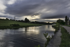 Moody sunset over the canal at Rodley (k8moonevans) Tags: uk travel sunset england sky storm heritage history water clouds canal mood outdoor yorkshire adventure barge strom narrowboat waterways narrowboats rodley zigane lifeafloat