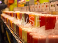 Fresh smoothies at a market stall (wsf-fl) Tags: ice fruit market juice many bio fresh juices smoothies smoothie fruitjuices vital marketstall fruitjuice fruitdrinks weeklymarket marketfreshness
