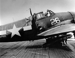 Hellcat F6F-3 from the squadron VF-15 after crash landing on the aircraft carrier hornet on 12 January 1944