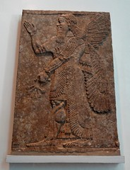 Assyrian winged protective spirit, relief sculpture from Nimrud (ca. 860 B.C.) (heffelumpen9) Tags: sculpture relief britishmuseum nimrud assyrianart wingedgenie