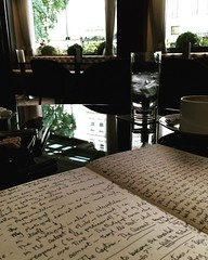 Interpretation (tonyhall) Tags: reflection water coffee pen writing notebook walking reading reflecting hotel words notes diary theory practice cappuccino anarchic westburyhotel selforganising socialorganising