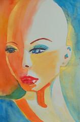 Fierce and Fragile (Cheryl Nelson Kellar) Tags: orange art beauty watercolor gold women turquoise contemporary bald womenare wwwcherylkellarcom