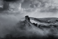 the castle in the sky (stocks photography.) Tags: morning bw mist misty fog landscape photography photographer foggy stocks dorset castleinthesky corfecastle blackwhitephotography stocksphotography michaelmarsh