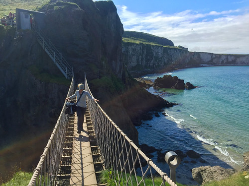 Julie crossing the rope bridge at Carrick-a-Rede