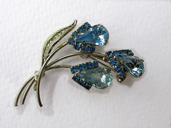 Blue Rhinestones (dog.happy.art) Tags: vintage shiny pin brooch jewelry collectible rhinestones collectable costumejewelry