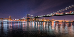 Manhattan Bridge, NYC (nianci pan) Tags: nyc blue sunset sky urban landscape twilight cityscape dusk manhattan sony manhattanbridge hudsonriver pan    sonyalphadslr  nianci sonyphotographing