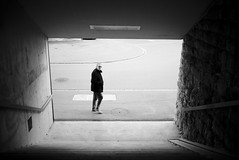 passing by (maekke) Tags: street urban bw man eyecontact noiretblanc streetphotography fujifilm zrich ch kreis5 viadukt x100t