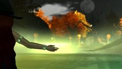 Summoning Halloween (Myra Wildmist) Tags: secondlife sl myrawildmist virtualphotography virtualart halloween pumpkins witch moon green summon spell