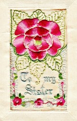 "1917, 6 Oct Henry's Postcard to Flora, from ""Somewhere in France"" (Love in a little black diary) Tags: postcards correspondence worldwari embroidered card sister wartime"