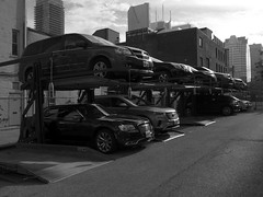 Stacked Parking (geowelch) Tags: downtown toronto urbanfragments urbanlandscape fujifilmx10 parking cars blackandwhite