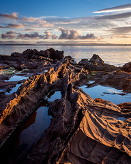 Rock Waves (Tim Allott) Tags: shore sea sky morning weathering seascape weatheredrock rockpools coast seashore foreshore permianrocks merklandpoint firthofclyde isleofarran 2016 pentaxk3 scotland