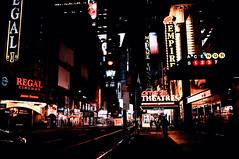 New York, New York (kirilko) Tags: nyc portauthority earlyinthemorning citylights manhattan urbanlife urbanart noflash fujix100 finepixx100 newyork usa nightlife solarisation ads deepcontrast highcontrast lowkey