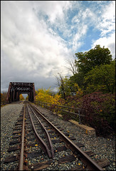 Memories of the Past (☣ MÀggøT BrÁìN ☣) Tags: trainbridge bridge niagarafalls memories jonathandavies maggotbrain canon5dmarkiii wideangle traintracks sky nothdr 1635mm cloudy crispy sharp