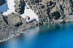 Azure (zh3nya) Tags: sierranevada snow highsierra blue azure lake alpine alpinelake rock grey shore lakeshore zoom detail d750 nikkor70200f4 mountains yosemitenationalpark yosemite parkerpass hiking rugged mountainous rocky