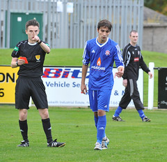 10 Red card (gurnnurn.com pictures) Tags: nairn county highland league lossiemouth fc wee station park october 30 2016 30th