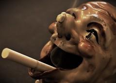 Smoking Clown - Macro Monday (c.denisebacher) Tags: clowns spooky frightful macromonday