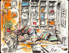Wenn Kissen Kissenschlacht spielen (connykunze) Tags: pillow flat furnishings interior regal lamp cozy couch room table colorful lines pentel sketchbook drawing moleskine illustration indoor berlin