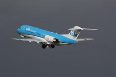 PH-KZM take off. (aitch tee) Tags: cardiffairport aircraft airliner ttail jetliner takeoff clouds klm fokker70 phkzm cwlegff maesawyrcaerdydd walesuk