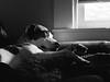 Ramona (BurlapZack) Tags: olympusomdem5markii olympusmzuiko45mmf18 vscofilm pack06 dallastx oakclifftx dog doggo doggy pup pupper puppy window bw mono monochrome portrait bokeh sad saddog nap sleep couch windowlight availablelight handheld