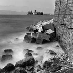 Point Of No Return (sebistaen) Tags: longexposure sea white black boat flickr wave squareformat gibraltar sbastien lemercier canoneos7dmarkii sebistaen breakthroughphotography x3neutraldensity10stop