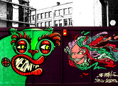 NeonitA, The krah (Draopsnai) Tags: urban streetart london monster graffiti faces shoreditch fencing hackney colourful hoardings willowstreet thekrah neonita