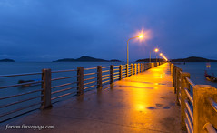 Night at Rawai pier, Phuket island, Thailand                 XOKA5754bs (Phuketian.S) Tags: sunrise rawai phuket island pier lamp sea wave mountain blue water ocean gold yellow восход пирс равай пхукет таиланд фонарь ночь утро свет синий золотой outdoor forumlinvoyagecom phuketian phuketphotographernet bridge twilight andaman sky thailand samui krabi bangkok pattaya