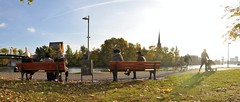 Cinematic autumn (Thorsten Reiprich) Tags: city people urban panorama fall sunshine germany bench deutschland europa europe day hessen riverside outdoor main herbst wide relaxing stadt embankment hesse
