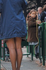 Man and Girl Stare at Legs (Christopher Cinq-Mars Jarvis) Tags: park man paris film girl 35mm photography child legs streetphotography staring amateur pantyhose voyeurism bresson spontaneous 1600asa artphotography amateurphotography studentphotography