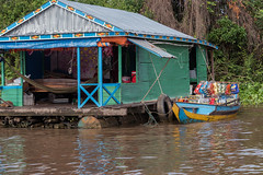 Life on the river 3 (tmeallen) Tags: trees water boat colorful cambodia houseboat drinks hammock snacks tied longtailboat pontoons tonlesap floatingvillage siemreapriver
