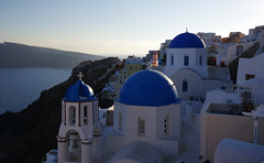Blue domes of Oia (Northern Adventures) Tags: sea church water religious island greek islands town spring village religion aegean may churches santorini greece dome domes greekislands orthodox oia hilltop cyclades thira settlement bluedome clifftop bluedomes οία lessercyclades