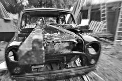 Dub (plot19) Tags: wood england blackandwhite black car out manchester photography blackwhite nikon northwest britain north mini nails burn now northern ladders plot19
