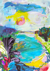 tropical dream (amaradacer) Tags: painting landscape beach abstract figurative yellow palmtreesky acrylic mixedmedia nature mountains contemporary modern blue sun travel caribbean exotic