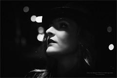 Film Noir II (Passie13(Ines van Megen-Thijssen)) Tags: filmnoir portrait portret woman hat shadow mood filmnoirmood blackandwhite bw sw zw zwartwit monochrome monochroom monochrom canon sigma35mmart inesvanmegen inesvanmegenthijssen weert limburg netherlands night evening nacht avond