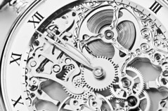 Primary(8) (emirylange) Tags: time gearing watch silver gold precious closeup accurate accuracy mechanism gear clock jewel jewelry watchmaking watchmaker highkey bw black white retro minutes second hour midnight