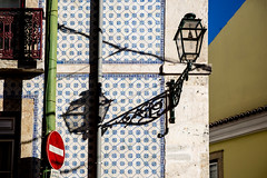 Lisbon Walls #1 (Franck_Michel) Tags: azulejos wall colorful shadow stop sign balcony gutter