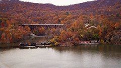 Which is beautiful? (Bhargav Kesavan) Tags: bearmountain hudsonriver water river landscape spectacular beautiful nature goodstrain train green yellow orange red colors hill mountain mountains bridge photography outdoor fallfoliage2016 fall2016 fallfoliage fall