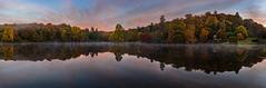 Dawn at Stourhead (Mr F1) Tags: sunrise stourhead johnfanning landscape tranquiloe reflection autumn colour color trees leaves falling dawn