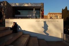 Jumper (Jeffrey De Keyser) Tags: rome roma italy altar peace shadow street photography color colour fuji reading streetphotography shadowplay arapacisaugustae arapacis jump jumper light wall apf spw usp ons psp eye sic scp wsp nge vog iio gau fec unc sal svt sfl x2 iso shu bsh y 16