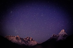 View of Ama Dablam and Lhotse after sunset from Tenboche (eikonologos.images) Tags: nightsky ebctrek everestbasecamptrek nepal myfujifilm tengboche himalayas lhotse amadablam