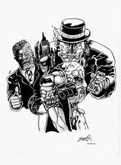 Villains of Batman (drawing - illustration - painting - graphic design) Tags: batman twoface penguin scarecrow draw brushpen hugartdg