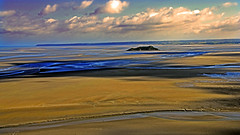 baie du mont saint michel (CLAUDE ROUGERIE) Tags: sunset beach water sky red nature blue night green light sun clouds landscape sea city lake news baie du mont saint michel claude rougerie